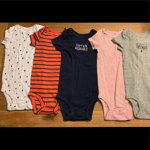 5 piece bundle boys body suits, 18 months